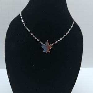 Sterling Silver Coro Stamped Maple Leaf Necklace